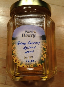 Green Farmacy Garden Honey made in 2014 by our bees with help by Dick Ransom.