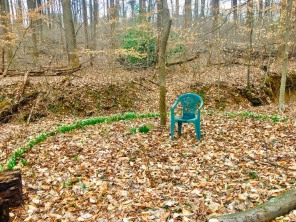 Jim's Duke's chair by the serene psilly circle surrounded by plops of snowdrops.*<3